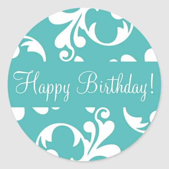 Happy Birthday Leaf Flourish Envelope Sticker Seal
