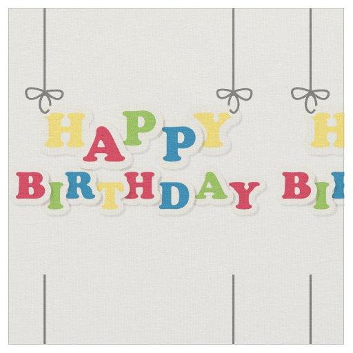 Happy Birthday Letters Fabric