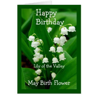 Happy Birthday Lily of the Valley May Birth Flower Card
