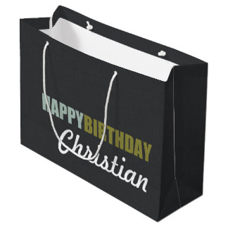 Happy Birthday Linen Grey Personalized Large Gift Bag