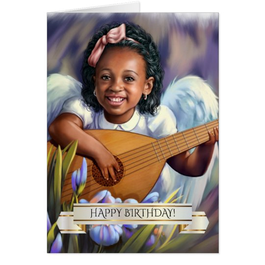 Happy Birthday. Little Afro Angel Greeting Cards