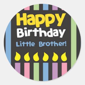 Happy Birthday little Brother stripey Round Sticker