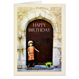 Happy Birthday, little girl and green frog Greeting Card