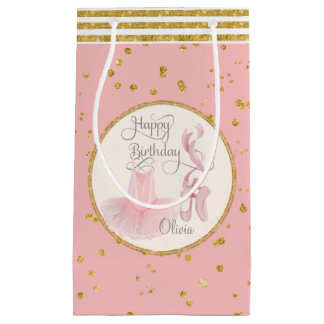 Happy Birthday Little Girl Ballet Tutu n Slippers Small Gift Bag