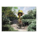 Happy Birthday Little Girl on Footpath Riding a bi Cards