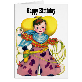 Happy Birthday - Little Roping Cowboy Greeting Card