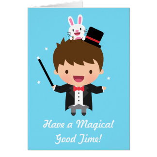 Happy Birthday Magician Boy Magic Bunny Trick Greeting Card