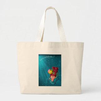 Happy Birthday Mermaid Large Tote Bag