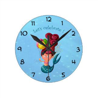 Happy Birthday Mermaid Round Clock
