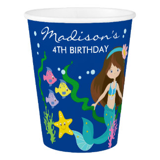 Happy Birthday Mermaid | Under The Sea Paper Cup