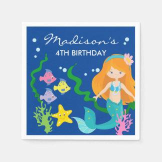 Happy Birthday Mermaid | Under The Sea Paper Napkin