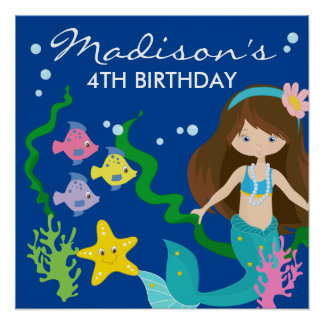 Happy Birthday Mermaid | Under The Sea Poster