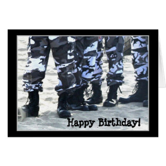 Happy Birthday Military Boots greeting card