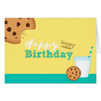 Happy Birthday Milk and Chocolate Chip Cookies Card