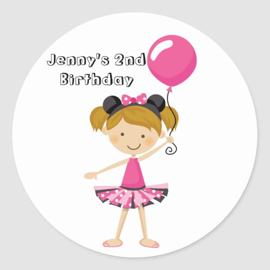 Happy Birthday Minnie Party Girl with Balloon Classic