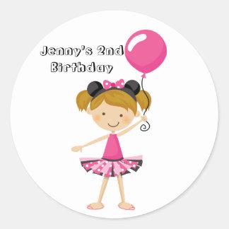 Happy Birthday Minnie Party Girl with Balloon Round Sticker