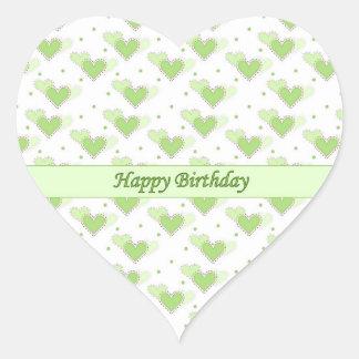 Happy Birthday Mint Green Hearts Sticker