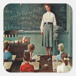 Happy Birthday, Miss Jones by Norman Rockwell Square Sticker