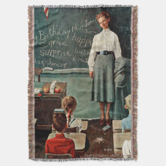 Happy Birthday, Miss Jones by Norman Rockwell Throw Blanket