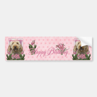 Happy Birthday Mom - Goldendoodle Bumper Sticker