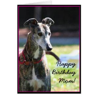 Happy Birthday Mom Greyhound greeting card