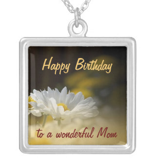 Happy Birthday Mom - White Daisy Birthday Pendant