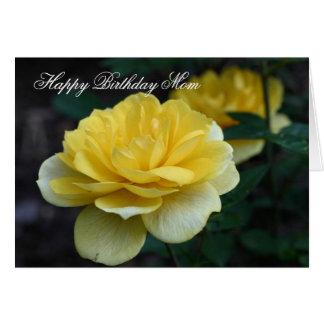 Happy Birthday Mom Yellow Rose Flower Photo Card