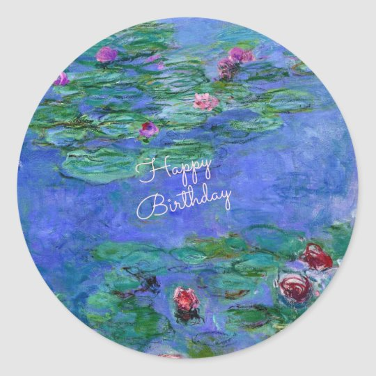 Happy Birthday: Monet's Water Lilies Classic Round Sticker