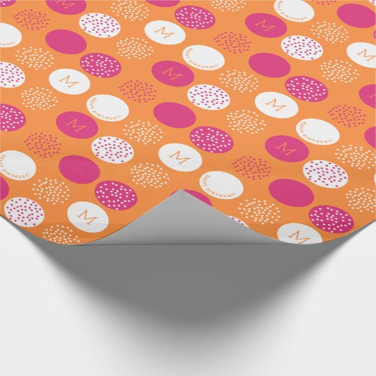 Happy Birthday Monogram Pink Orange Wrap Wrapping Paper