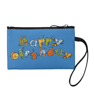 Happy Birthday Monsters Child s Coin Clutch Coin Wallet