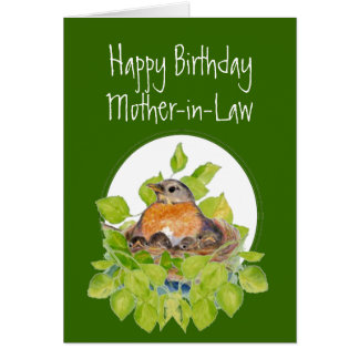 Happy Birthday Mother-in-Law Robin on Nest Greeting Card