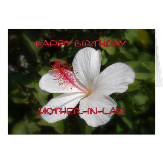 Happy Birthday Mother-in-Law White Hibiscus Card