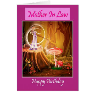 Happy Birthday Mother In Law with fairy Greeting Card