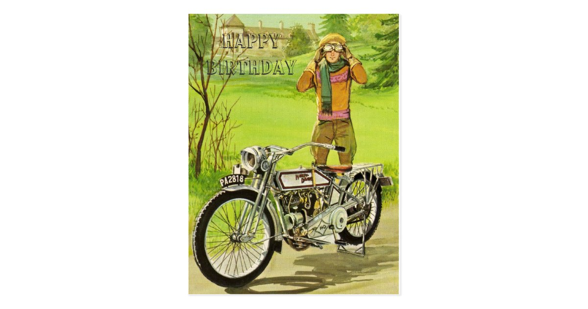Happy Birthday Motorcycle Postcard Zazzle Co Uk
