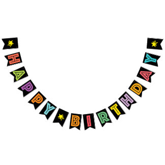 HAPPY BIRTHDAY ☆ MULTICOLORED ON BLACK BACKGROUND BUNTING