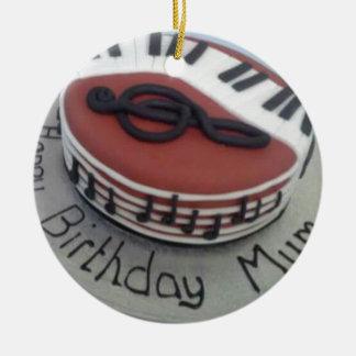 Happy birthday mum cake round ceramic decoration