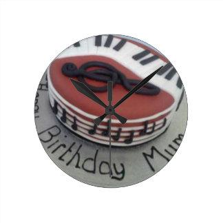 Happy birthday mum cake round clock