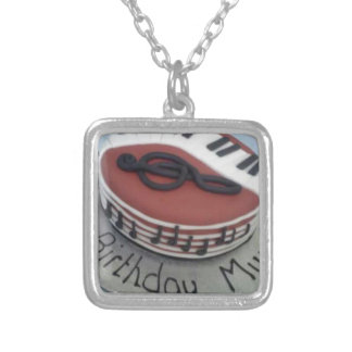Happy birthday mum cake silver plated necklace