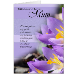 Happy Birthday Mum card with purple crocus