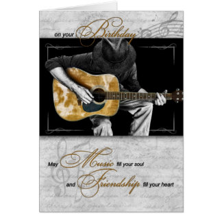 Happy Birthday Music Lover - Classic Guitarist Greeting Card