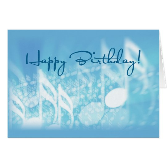Happy Birthday, Music on Blue Card