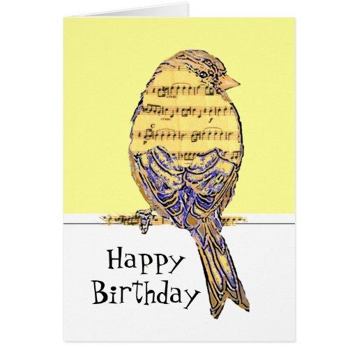 Happy Birthday Musician Fun Music Note Bird Greeting Cards