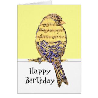 Happy Birthday Musician Fun Music Note Bird Note Card