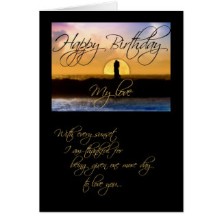 Happy Birthday My Love Sunset Couple Greeting Card