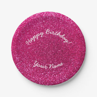 Happy Birthday neon hot pink glitter Paper Plate