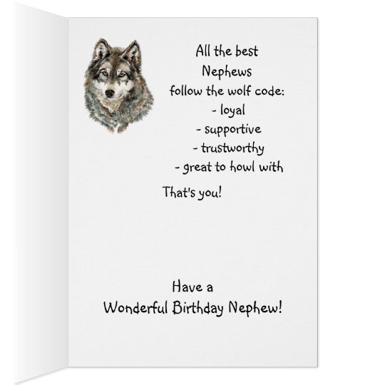 Happy Birthday Nephew Humour Wolf, Wolves Card