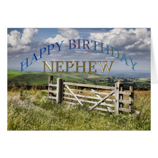 Happy Birthday Nephew, landscape with a gate Greeting Card