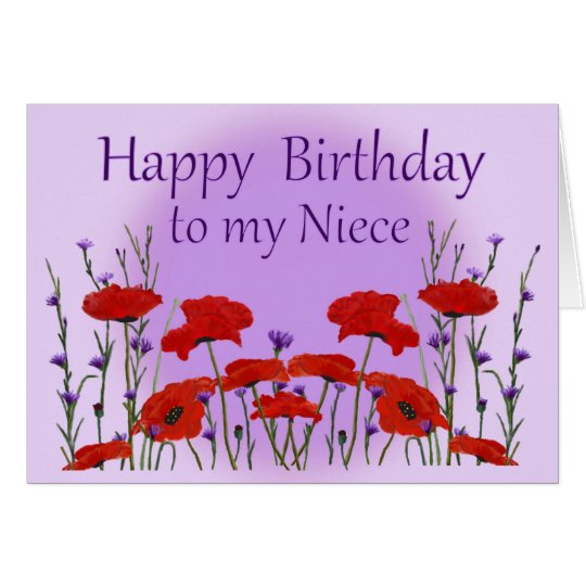 Happy Birthday Niece, Field of Poppies Card