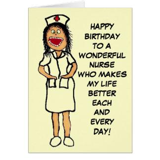 Happy Birthday Nurse Cartoon Greeting Card
