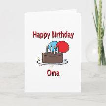 Happy Birthday Oma German Grandma Birthday Design Cards